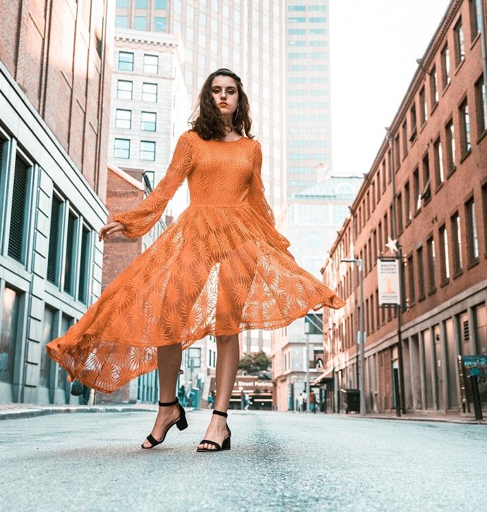 Skater dress in orange