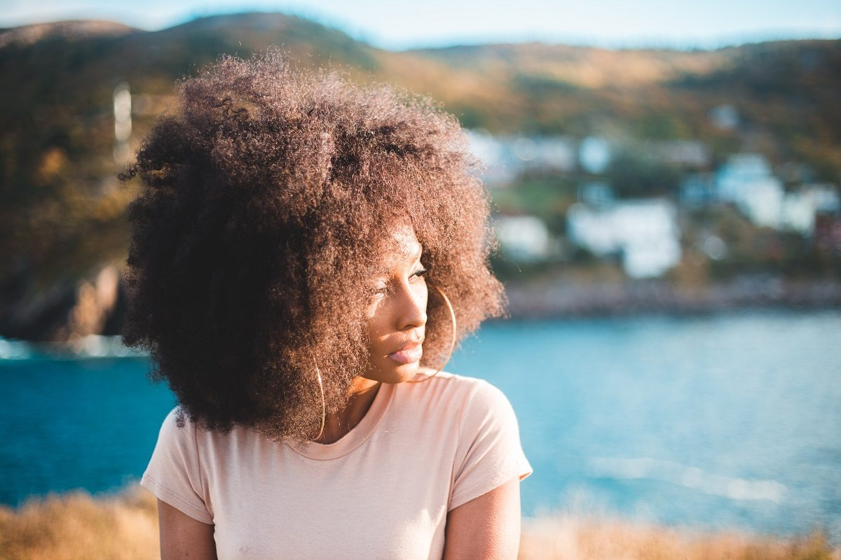 Woman with gorgeous afro